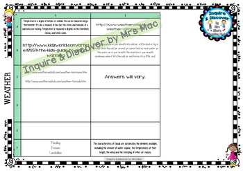 WEATHER RUBRIC - 24 Questions & Answers, Marking Checklist, Success Criteria