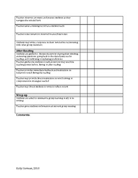 Guided Reading Instruction Checklist