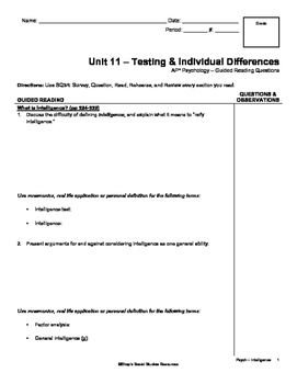 Guided Reading - Intelligence & Testing