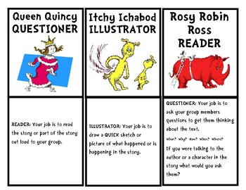 Guided Reading Job Cards Dr Seuss Theme