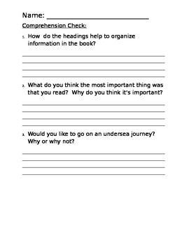 Guided Reading - Journey to the Undersea Gardens