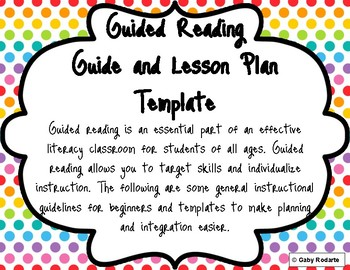 Guided Reading Lesson Guide and Template for Beginners