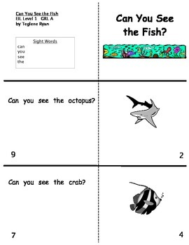 Guided Reading Lesson Level A book and more: Can You See The Fish?