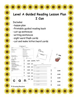 Guided Reading Lesson Level A book and more: I Can