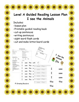 Guided Reading Lesson Level A book and more: I See The Animals
