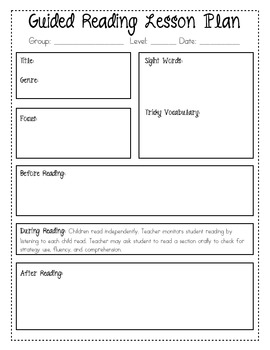 Guided Reading Lesson Plans Teaching Resources Teachers Pay Teachers - Guided reading lesson plan template fountas and pinnell