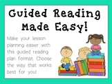 Editable Guided Reading Lesson Plan (Based on Fountas & Pinnell)