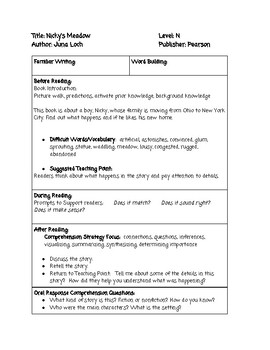 Guided Reading Lesson Plan BUNDLE Level N