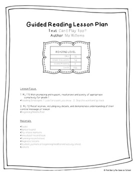 Guided Reading Lesson Plan: Can I Play Too by Mo Willems