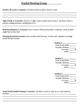 Guided Reading Lesson Plan Digital form
