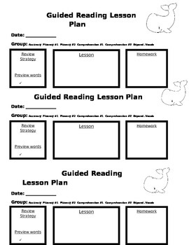 Guided Reading Lesson Plan Form