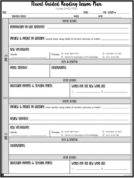 Guided Reading Lesson Plan Formats