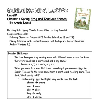 Guided Reading Lesson Plan: Frog and Toad Are Friends Ch. 1
