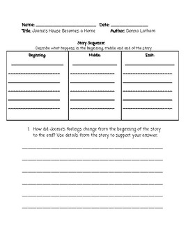 Guided Reading Lesson Plan: Joanie's House Becomes a Home