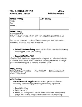 Guided Reading Lesson Plan: Salt Lick Boom Town