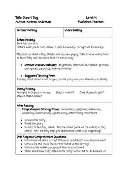 Guided Reading Lesson Plan: Smart Dog