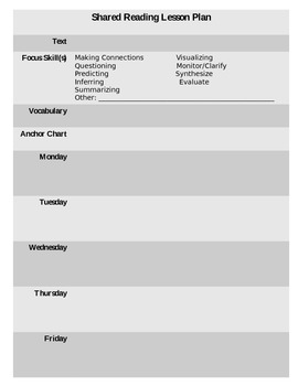 Shared and Guided Reading Lesson Plan Template