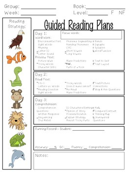 Guided Reading Lesson Plan Template By Kindergarten Is Grrreat - Free guided reading lesson plan template