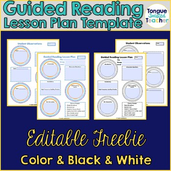 Guided Reading Lesson Plan Template, Color and Grayscale, Editable