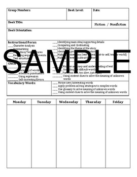 Guided Reading Lesson Plan Template BUNDLE