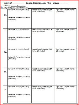 Guided reading lesson plan template 5 days by brittni for Day plan template for teachers