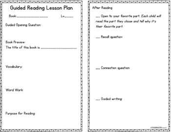 Guided Reading Lesson Plan Template {EDITABLE}