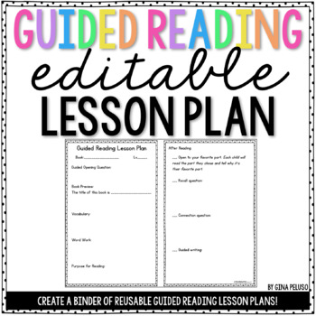 Guided Reading Lesson Plan Template Editable  Tpt