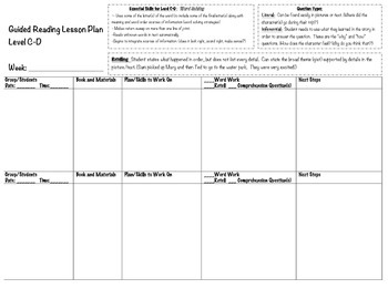 Guided Reading Lesson Plan Template Level A-K ( Essential Skills Included!)