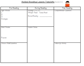 Guided Reading Lesson Plan Template (Levels A-N)