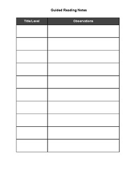 Guided Reading Lesson Plan Template Pack
