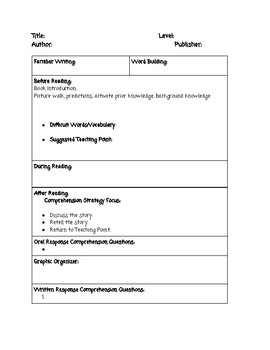 Guided Reading Lesson Plan Template & Suggested Schedule