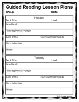 Guided Reading Lesson Plan Template For Any Level FREEBIE TpT - Free printable lesson plan templates