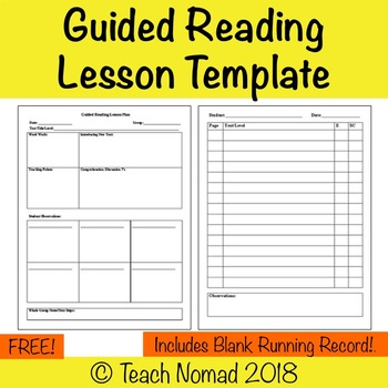 Guided Reading Lesson Plan Template with Running Record (Form 1)