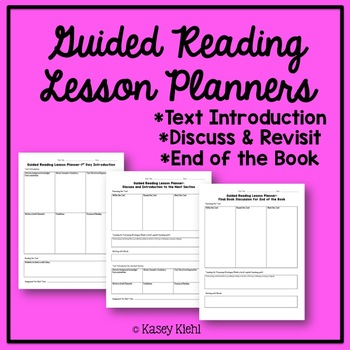 Guided Reading Lesson Plan Templates By Kasey Kiehl  Tpt