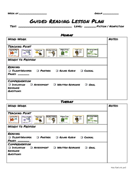 Guided Reading LESSON PLAN TEMPLATES Bundle