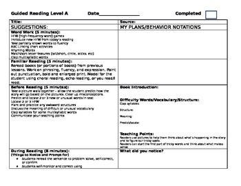 Guided Reading/Small Group  Lesson Plan Templates Levels A-R