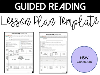 Guided Reading Lesson Plan Templates - Linked to NSW Literacy Continuum