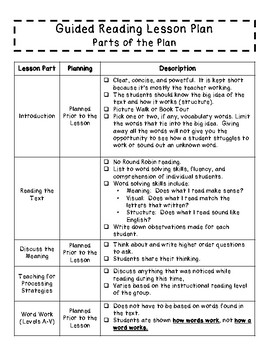 Guided Reading Lesson Plan Templates for Fifth Grade