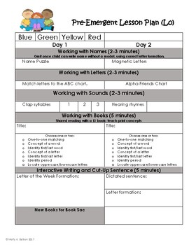 Guided Reading Lesson Plan Templates for Reading Recovery Levels 0-12