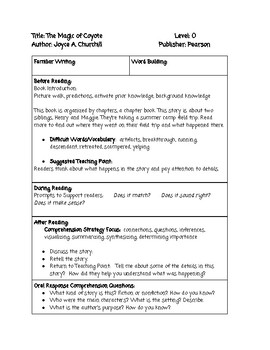 Guided Reading Lesson Plan: The Magic of Coyote