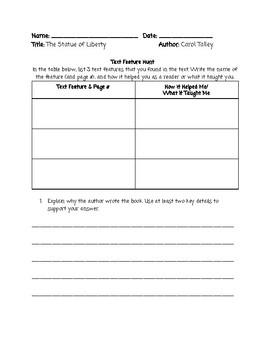 Guided Reading Lesson Plan: The Statue of Liberty