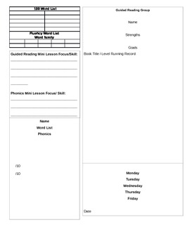 Guided Reading Lesson Plan and Progress Monitoring
