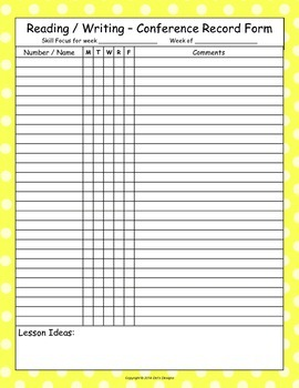Guided Reading Lesson Plan and Reading / Writing Conference Record Form