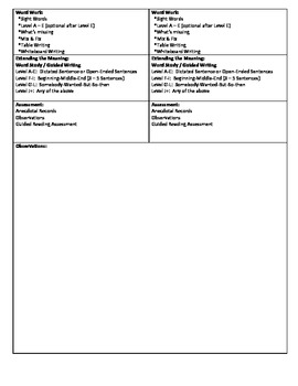 Guided Reading Lesson Plan for - (Level B)  In The Tree