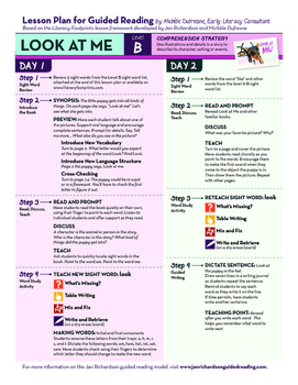 """Guided Reading Lesson Plan for """"Look at Me!"""" (Level 2/B)"""
