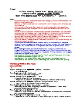 """Guided Reading Lesson Plan for """"Storm Thief"""", F&P Level X"""