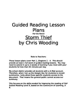 "Guided Reading Lesson Plan for ""Storm Thief"", F&P Level X"