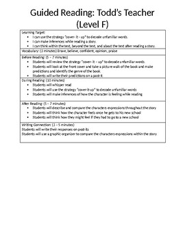 Guided Reading Lesson Plan for the book Todd's Teacher (Level F)