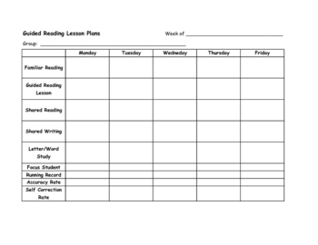 Guided Reading Lesson Plan or Tracking Form