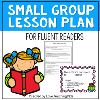 Guided Reading Lesson Plan Template Fluent Readers By Love